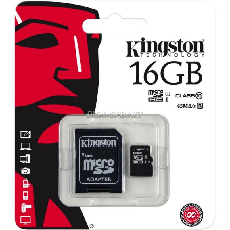 Карта памяти 16Gb microSDHC Class 10 UHS-I + SD adapter, Kingston