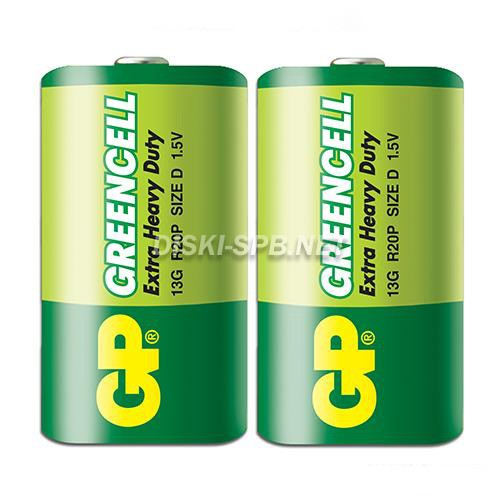 Батарейка солевая D (R20), Greencell, GP