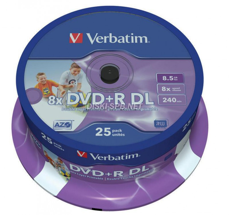 DVD+R диск 16х VS 8.5 Гб, Double Layer, Printable, 10 дисков