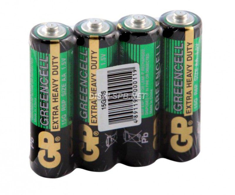 Батарейка солевая GP Greencell, AA R06